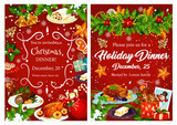 Christmas holiday festive dinner invitation card