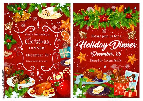 Christmas holiday festive dinner invitation card - 231844213