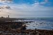Le guéveur, la corne de brûme de l'ile de Sein l'hiver, marée basse, île de Sein, Bretagne