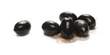 Black olives isolated on white background