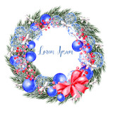 Watercolor Christmas wreath with toys, bow, berries and pine.  - 231856491