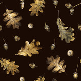 Seamless pattern with autumn golden leaves of oak and acorns. Hand drawn illustration with colored pencils. Botanical natural design for textiles, interior or some background. - 231856624