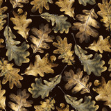 Seamless pattern with autumn golden leaves of oak. Hand drawn illustration with colored pencils. Botanical natural design for textiles, interior or some background. - 231856631