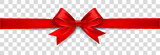 Red Satin Bow Isolated on Background. Vector