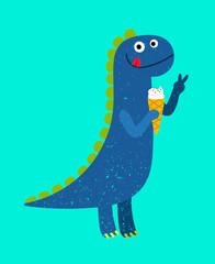 Happy cartoon blue dino with ice-cream, vector illustration