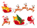 New Year icons set, deers and Christmas tree, Santa sledge vector icons on white background