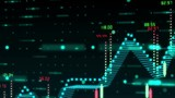 Motion graphic background with 3D financial bar graph made of holographic dots and rates appearing in virtual space - 231860299