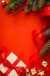 Christmas tree, Christmas gift and holidays ornament; Christmas invitation card background