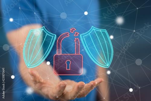 Leinwanddruck Bild Concept of cyber security