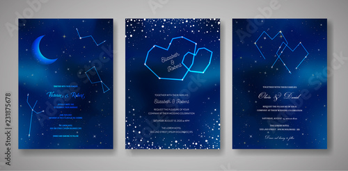 Set of Starry Night Wedding Invitation Cards, Save the Date Celestial Template of Galaxy, Space, Stars, trendy Sky Illustration in vector