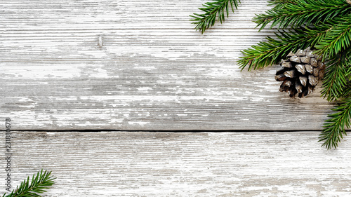 Leinwanddruck Bild Christmas Fir tree branches and pine cone background