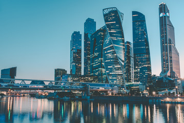 Evening Moscow City, Russia