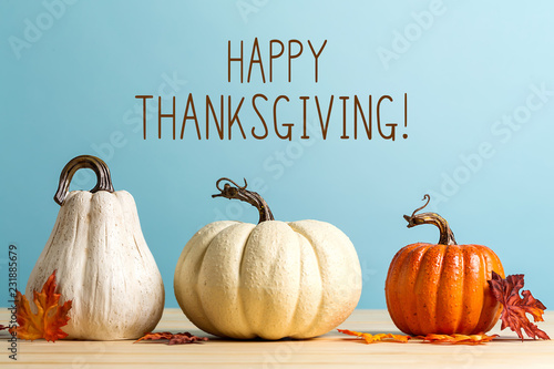 Thanksgiving message with pumpkins on a blue background - 231885679