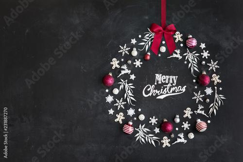 Christmas wreath flat lay