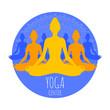 Group of meditating women in lotus pose. Yoga illustration.