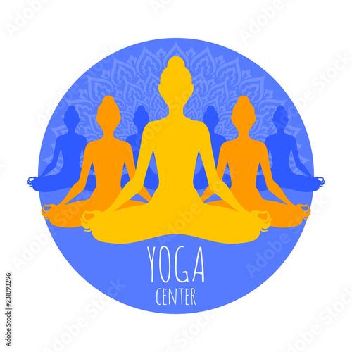 Poster Group of meditating women in lotus pose. Yoga illustration.