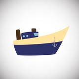 Flat ship on white background icon - 231900218