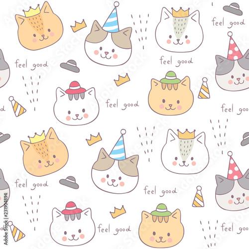 fototapeta na ścianę Cartoon cute seamless pattern baby cat vector.