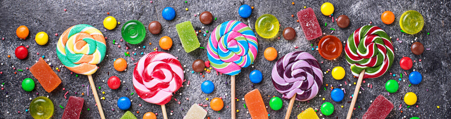 Assortment of colorful candies and lollipops © Yulia Furman