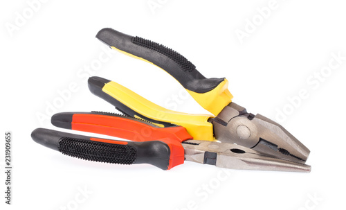 Leinwanddruck Bild A new pairs of needle-nose pliers isolated on a white background.