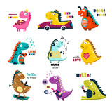 Cute dinosaurs. Cartoon. big set
