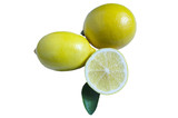 two lemons half lemon and green leaf on white isolate background