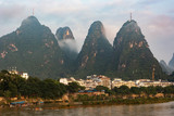 Yangshuo city in China with beautiful karst mountains. - 231910493