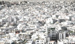 Panoramic view of white buildings city districts, Athens, Greece