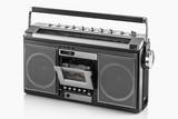 1980s Silver retro radio boom box on white background - 231916834