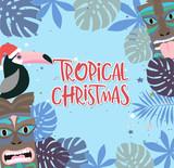 Tropical Christmas poster with fun hawaiian mask and toucan. Merry Christmas greeting or invitation card. Editable vector illustration - 231919250