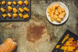 pumpkin pieces (raw orange pumpkin). Healthy food. Copy space. Diet menu. Top view