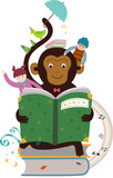 Reading a book monkey - 231921433