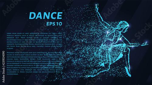 Dance of the blue points of light. Girl dancing, vector illustration. - 231924090
