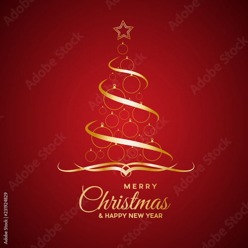 Vector Abstract cover Golden Christmas Tree, with text © puckillustrations