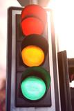 Red pedestrian traffic light black - 231925483