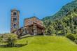 Leinwanddruck Bild - Hilltop and stone church facade in the Pyrenees. Andorra Europe