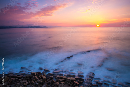 Beach of Barrika at sunset, Vizcaya, Basque Country, Spain - 231930669