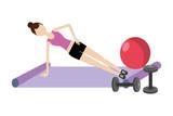 young woman exercising cartoon - 231931266