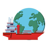 tanker ship with world planet