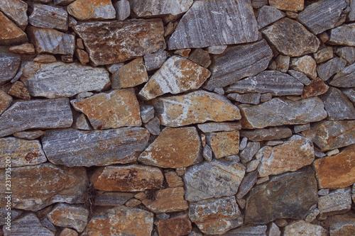 Leinwanddruck Bild Weinvisionen, Detail einer Steinmauer, die die Weingärten begrenzt. Hintergrund