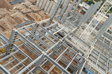 Top view of steel girders. General view of a tall construction beams - 231936007