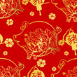 Seamless pattern with Chinese New Year 2019 Zodiac Year of the pig sign with red and gold asian elements. - 231940042
