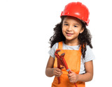 smiling little girl-worker in uniform and helmet with pliers in hands isolatd on a white background - 231941810