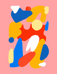 Pink Abstract Drawing with Bright Details