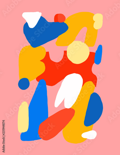 Pink Abstract Drawing with Bright Details - 231944874