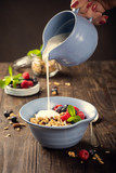 Homemade oatmeal granola or muesli with yogurt and fresh berries for healthy morning breakfast, selective focus. Healthy food background. - 231949289