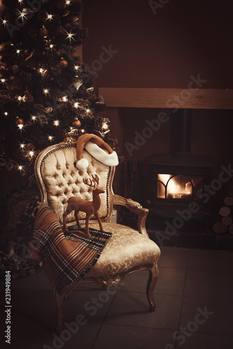Christmas By A Roaring Log Fire © Springfield Gallery