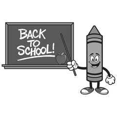 Black and White School Crayon with a Back to School Blackboard - A vector cartoon illustration of a School Crayon with a Back to School Blackboard concept.