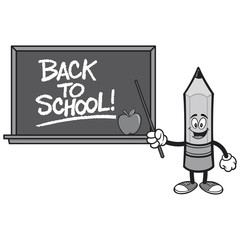 Black and White School Pencil with a Back to School Blackboard - A vector cartoon illustration of a School Pencil with a Back to School Blackboard concept.