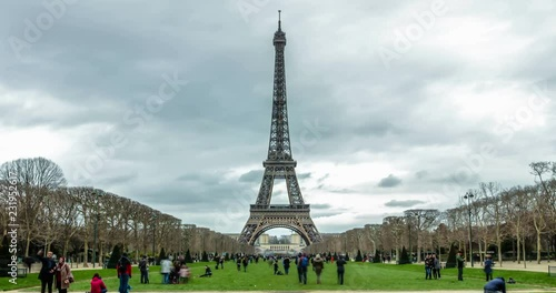 Paris France Tour Eiffel Tower Time Lapse Symbol